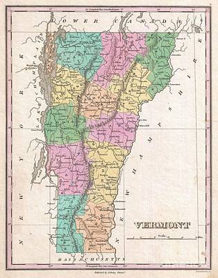 1827 Finley Map Of Vermont Art Print