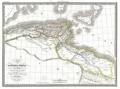 1829 Lapie Historical Map Of Empire Of Carthage Print by Paul Fearn