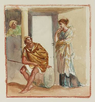 A Warrior Seated Outside A Greek Building Art Print