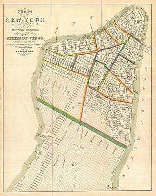1831 Hooker Map Of New York City Art Print by Paul Fearn