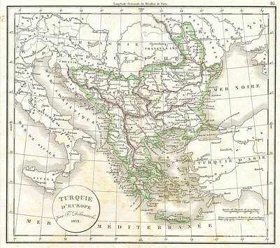 1832 Delamarche Map Of Greece And The Balkans Art Print by Paul Fearn
