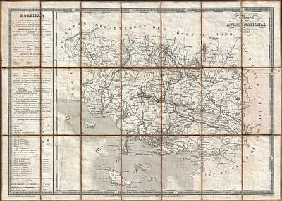 1833 Charle Map Of The Dept Of Morbihan Bretagne France Art Print by Paul Fearn