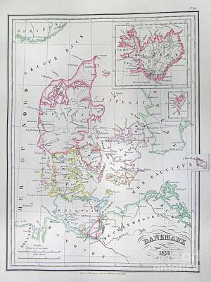 1833 Malte Brun Map Of Denmark  Iceland And Faeroe Islands  Art Print by Paul Fearn