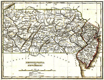 1835 Pennsylvania And New Jersey Map Art Print