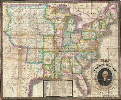 1835 Webster Map Of The United States Art Print by Paul Fearn
