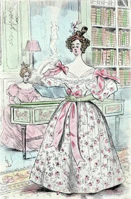 Belle Epoque Drawing - 1835, Womens Fashion In Nineteenth-century Paris by Artokoloro