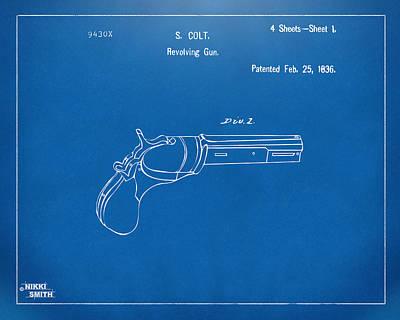 1836 First Colt Revolver Patent Artwork - Blueprint Art Print by Nikki Marie Smith