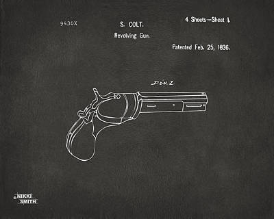 Digital Art - 1836 First Colt Revolver Patent Artwork - Gray by Nikki Marie Smith