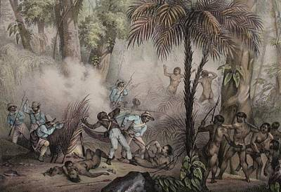 1836 Rugendas Brazil Indian Masacre Art Print