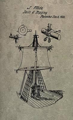 1836 Sailboat Patent Print by Dan Sproul