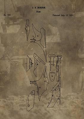 Plantations Digital Art - 1837 Antique Plow Patent by Dan Sproul