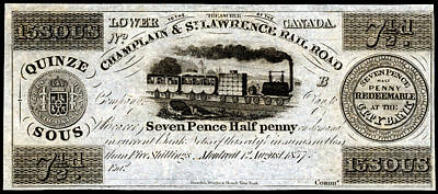 Painting - 1837 Canadian Railroad Currency by Historic Image