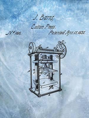 Plantations Digital Art - 1837 Cotton Press Patent by Dan Sproul
