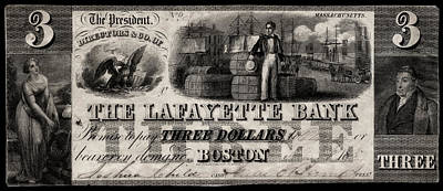 Painting - 1837 Lafayette Bank Three Dollar Note by Historic Image