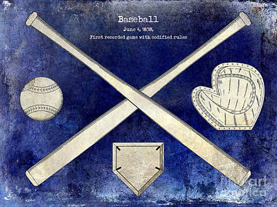 1838 Baseball Drawing 2 Tone Blue Art Print
