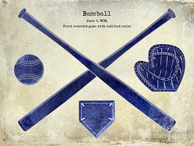 Baseball Gloves Wall Art - Photograph - 1838 Baseball Drawing 2 Tone by Jon Neidert