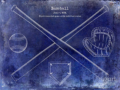 Baseball Gloves Wall Art - Photograph - 1838 Baseball Drawing Blue by Jon Neidert