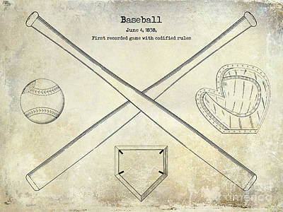 Baseball Gloves Wall Art - Photograph - 1838 Baseball Drawing  by Jon Neidert