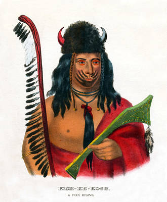 Painting - 1838 Kish Ke Kosh Fox Indian Brave by Historic Image