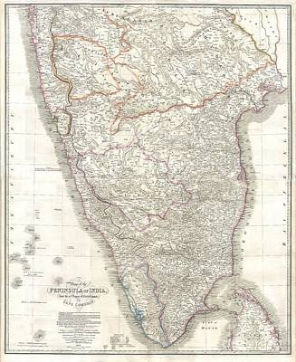 1838 Wyld Wall Map Of India Art Print by Paul Fearn