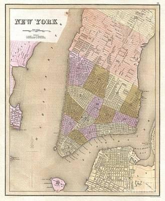 1839 Bradford Map Of New York City Art Print