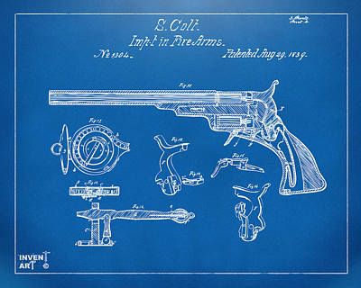 Drawing - 1839 Colt Fire Arm Patent Artwork Blueprint by Nikki Marie Smith