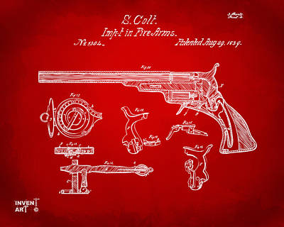 Drawing - 1839 Colt Fire Arm Patent Artwork Red by Nikki Marie Smith