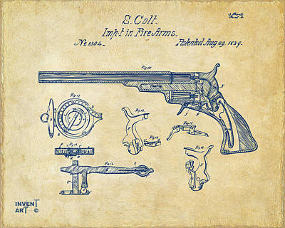 Drawing - 1839 Colt Fire Arm Patent Artwork Vintage by Nikki Marie Smith