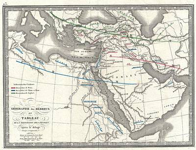 1839 Monin Map Of The Hebrew Peoples Dispersal After The Flood Art Print by Paul Fearn