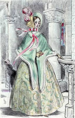 Belle Epoque Drawing - 1839, Womens Fashion In Nineteenth-century Paris by Artokoloro