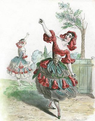 Castanets Painting - 1840s Fleur De Grenadier Pomegranate by Vintage Images