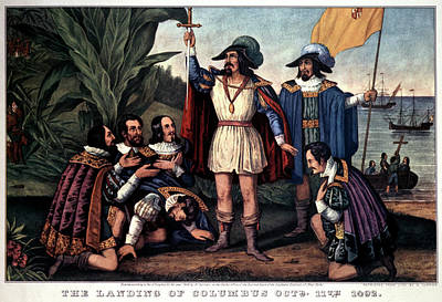 Christopher Columbus Painting - 1840s Landing Of Christopher Columbus by Vintage Images