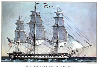 Uss Constitution Painting - 1840s Uss Frigate Constitution - by Vintage Images