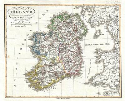 1841 Perthes Map Of Ireland Art Print