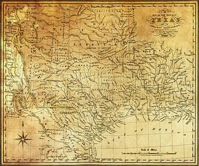 Hand Drawn Digital Art - 1841 Republic Of Texas Map by Daniel Hagerman