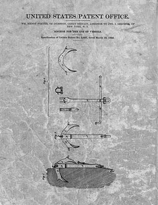 1842 Anchor Patent Charcoal Art Print by Dan Sproul