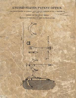 Stop Mixed Media - 1842 Anchor Patent by Dan Sproul