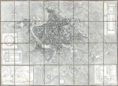 1843 Monaldini Case Map Of Rome Art Print by Paul Fearn