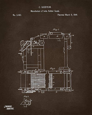 Drawing - 1844 Charles Goodyear India Rubber Goods Patent Espresso by Nikki Marie Smith