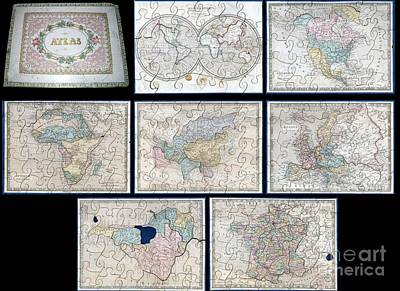 1845 Logerot Jigsaw Puzzle Atlas Of The World  Art Print