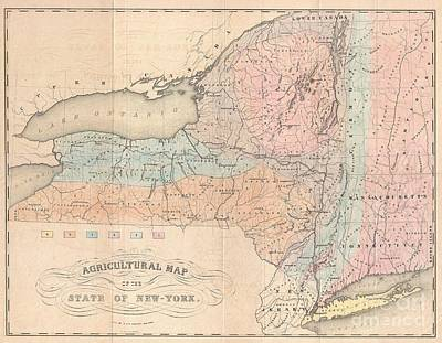 Maps Photograph - 1846 Emmons Agricultural Map Of New York State by Paul Fearn