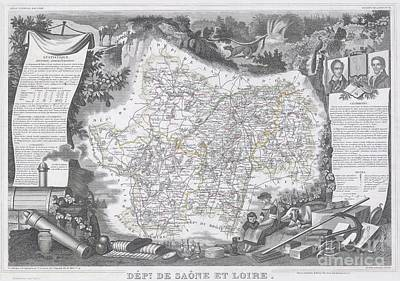 1847 Levasseur Map Of Saone Et Loire France Art Print