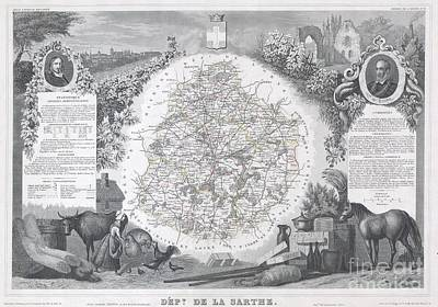 1847 Levasseur Map Of Sarthe France Art Print by Paul Fearn