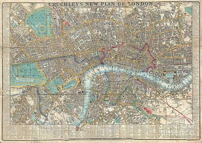 Bounded Area Photograph - 1848 Crutchley Pocket Map Or Plan Of London by Paul Fearn
