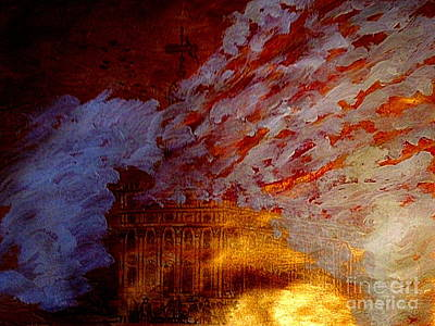 Painting - 1848 Mormon Nauvoo Illinois Temple Burning At Night 1 by Richard W Linford