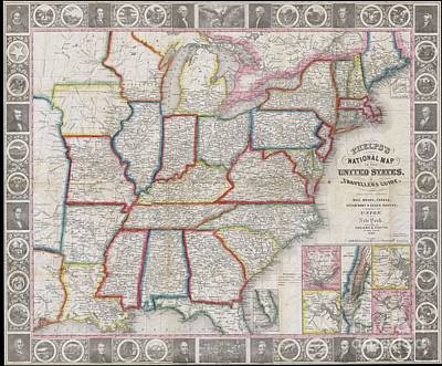 1848 Phelps National Map Of The United States Art Print