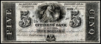 Painting - 1850 Bank Of New Orleans Five Dollar Note by Historic Image