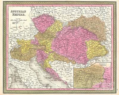 Travel To Hungary Photograph - 1850 Mitchell Map Of Austria Hungary And Transylvania by Paul Fearn