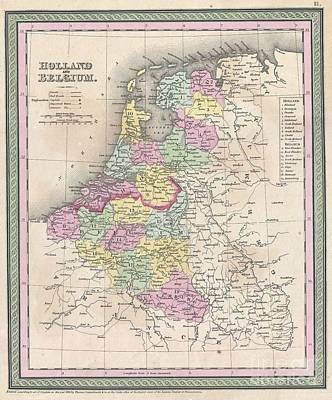 1850-51 Photograph - 1850 Mitchell Map Of Holland And Belgium by Paul Fearn