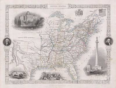 1850 Tallis Map Of The United States Art Print by Paul Fearn